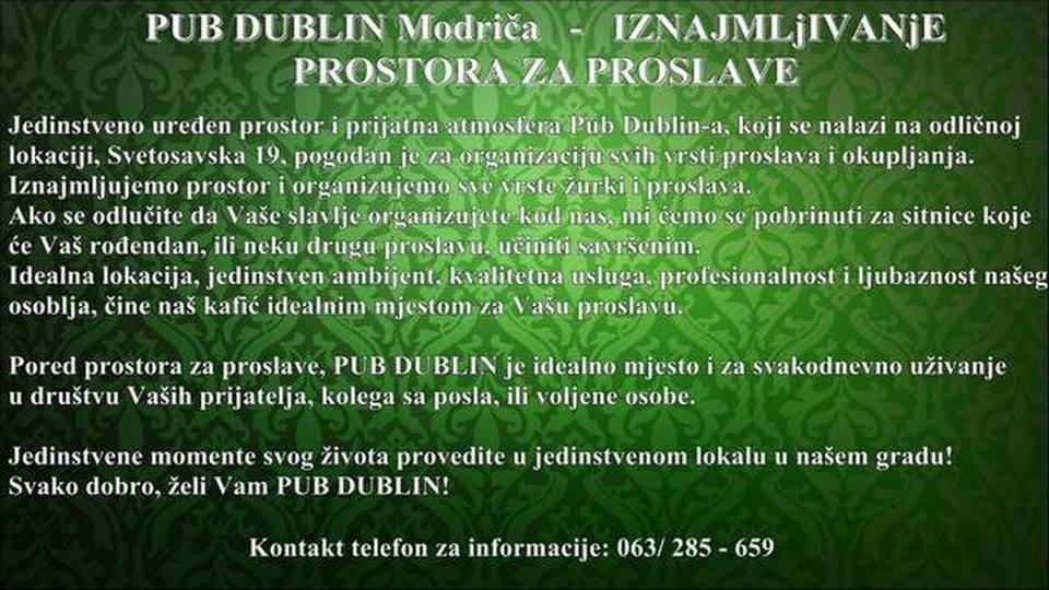 PUB DUBLIN - NAJAM LOKALA ZA PROSLAVE