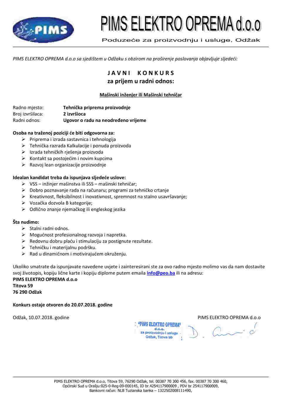 Konkurs - mašinski inžinjer ili tehničar (2 RM)