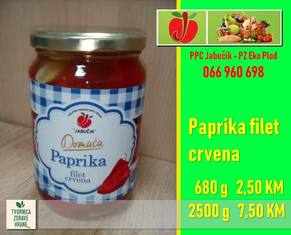 Paprika filet crvena, 680g- 2,50KM, 2500g- 7,50 KM